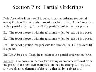 Section 7.6:  Partial Orderings