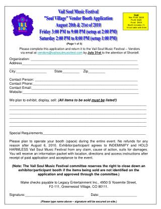 Please complete this application and return it to the Vail Soul Music Festival   Vendors  via email at vendorsvailsoulmu