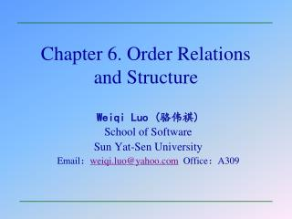 Chapter 6. Order Relations and Structure
