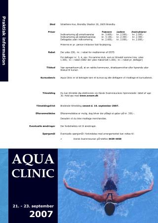 AQUA CLINIC 21. - 23. september       2007
