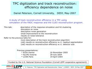 Previous presentations:        * ECFA Vienna                         16-November-2005