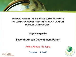 INNOVATIONS IN THE PRIVATE SECTOR RESPONSE  TO CLIMATE CHANGE AND THE AFRICAN CARBON