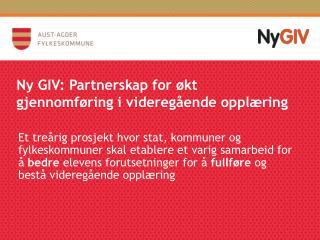 Ny GIV: Partnerskap for økt gjennomføring i videregående opplæring
