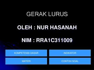 GERAK LURUS OLEH :  NUR HASANAH NIM :  RRA1C311009
