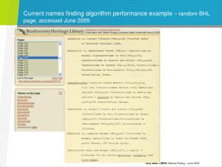 Current names finding algorithm performance example  – random BHL page, accessed June 2009