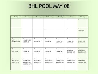 BHL POOL MAY 08