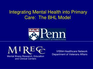 Integrating Mental Health into Primary Care:  The BHL Model