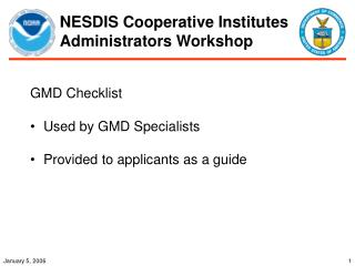 NESDIS Cooperative Institutes Administrators Workshop