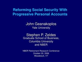 Reforming Social Security With Progressive Personal Accounts