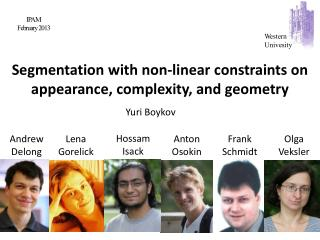Segmentation with non-linear constraints on appearance, complexity, and geometry