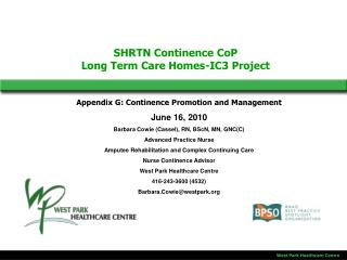 SHRTN Continence CoP Long Term Care Homes-IC3 Project