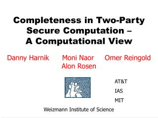 Completeness in Two-Party Secure Computation –  A Computational View