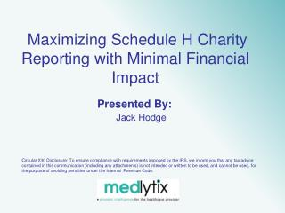 Maximizing Schedule H Charity Reporting with Minimal Financial Impact