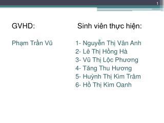 GVHD:  Sinh viên thực hiện : Phạm Trần Vũ 1-  Nguyễn Thị Vân Anh 2-  Lê Thị Hồng Hà