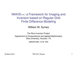 IWAVE++: a Framework for Imaging and Inversion based on Regular-Grid Finite Difference Modeling