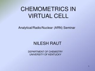 CHEMOMETRICS IN VIRTUAL CELL