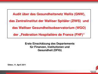 Erste Einschätzung des Departements für Finanzen, Institutionen und Gesundheit (DFIG)