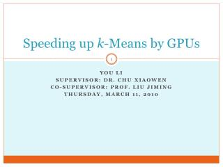 Speeding up  k -Means by GPUs
