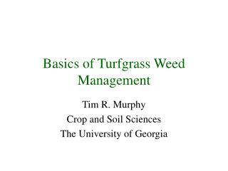Basics of Turfgrass Weed Management
