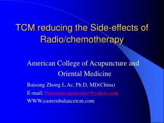 TCM reducing the Side-effects of Radio/chemotherapy