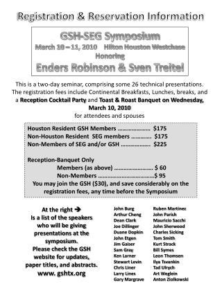 Registration & Reservation Information