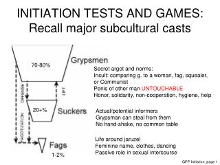 INITIATION TESTS AND GAMES: Recall major subcultural casts