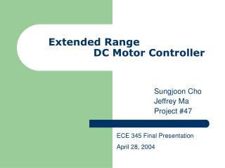 Extended Range     DC Motor Controller