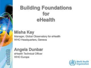 Misha Kay Manager, Global Observatory for eHealth  WHO Headquarters, Geneva Angela Dunbar