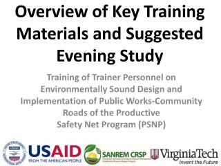 Overview of Key Training Materials and Suggested Evening Study