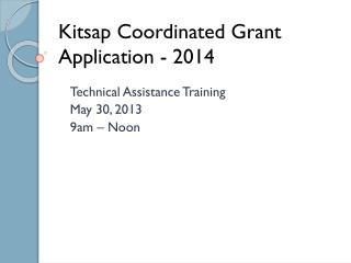 Kitsap Coordinated Grant Application - 2014
