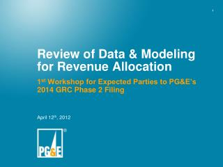 Review of Data & Modeling for Revenue Allocation
