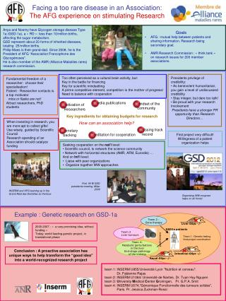 Facing a too rare disease in an Association: The AFG experience on stimulating Research