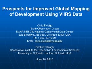 Prospects for Improved Global Mapping of Development Using VIIRS Data