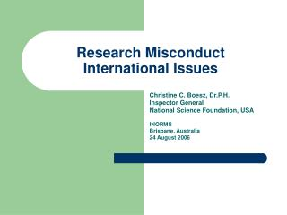 Research Misconduct International Issues