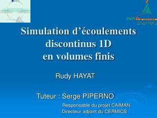 Simulation d'écoulements discontinus 1D en volumes finis