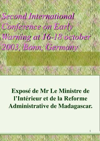 Second International Conference on Early Warning at 16-18 october 2003, Bonn, Germany