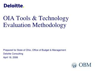 OIA Tools & Technology Evaluation Methodology