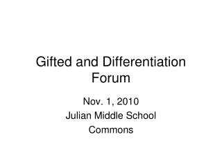 Gifted and Differentiation  Forum