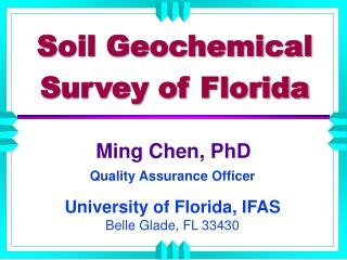 Soil Geochemical Survey of Florida