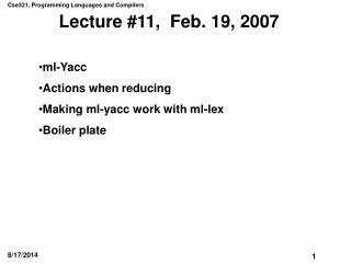 Lecture #11,  Feb. 19, 2007