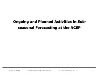 Ongoing and Planned Activities in Sub-seasonal Forecasting at the NCEP