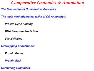 Comparative Genomics & Annotation
