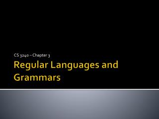 Regular Languages and Grammars