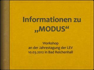 """Informationen zu """"MODUS"""""""