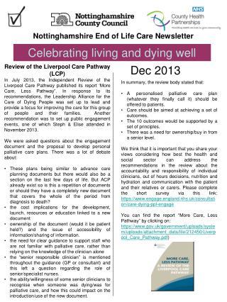 Nottinghamshire End of Life Care Newsletter