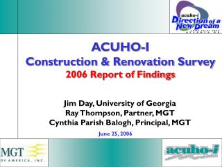 ACUHO-I Construction & Renovation Survey 2006 Report of Findings