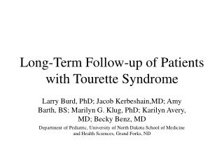 Long-Term Follow-up of Patients with Tourette Syndrome