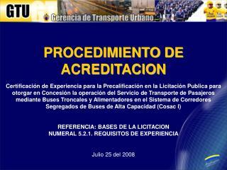 PROCEDIMIENTO DE ACREDITACION