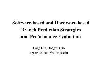 Software-based and Hardware-based  Branch Prediction Strategies and Performance Evaluation