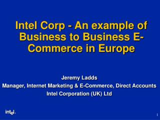 Intel Corp - An example of Business to Business E-Commerce in Europe
